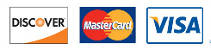 We accept Discover MasterCard and Visa.